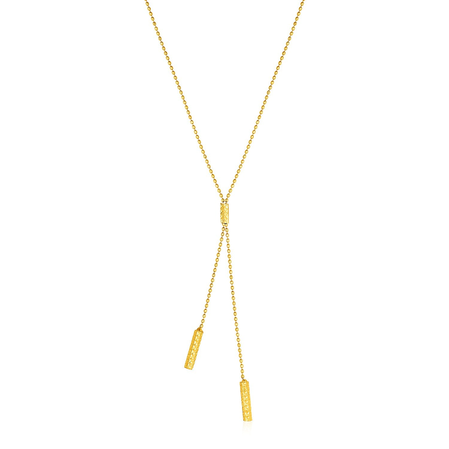 Lariat Necklace with Textured Bars in 10K Yellow Gold