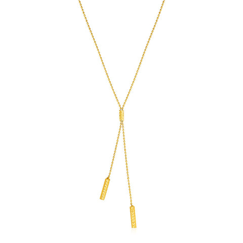 Unique Hollywood Style Lariat Necklace with Textured Bars in 10K Yellow Gold