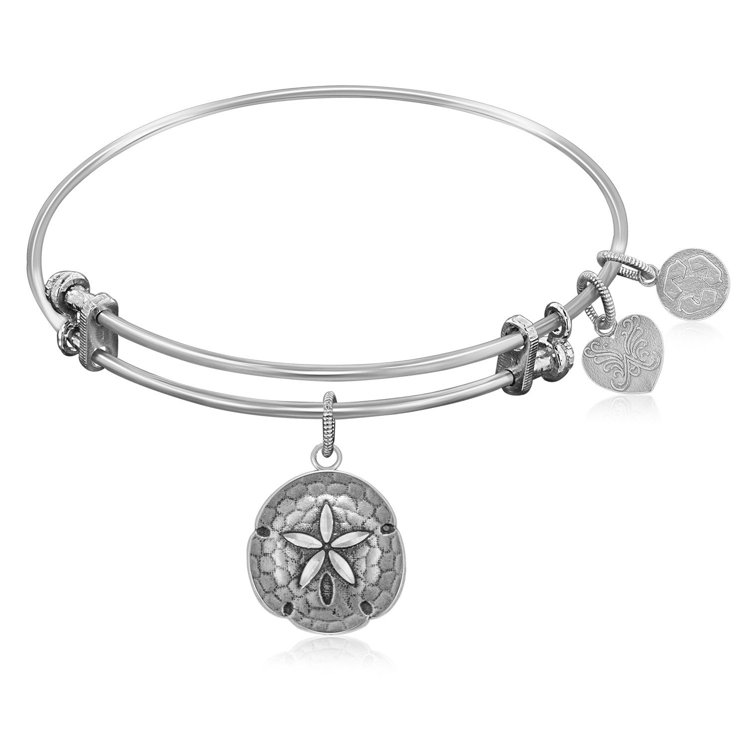 Expandable Bangle in White Tone Brass with Sand Dollar Symbol