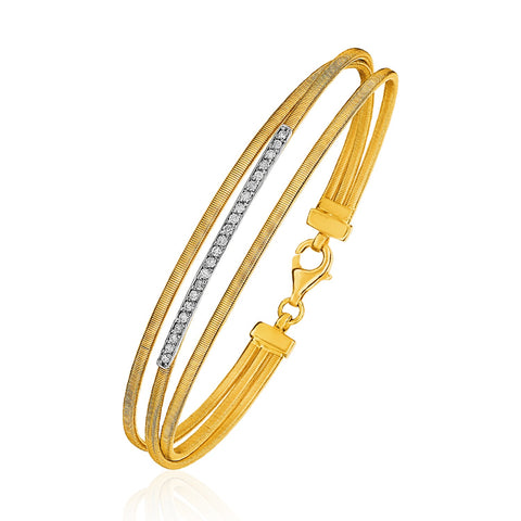 Unique Luxury French Style 14K Three-Part Gold and 1pt Diamond Bangle Bracelet with Clasp (1/5 ct. tw.)