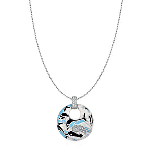 Distinctive Luxury London Style Dolphin Motif Pendant with Enamel and Cubic Zirconia in Sterling Silver