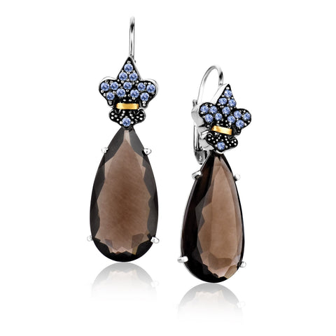 Unique Modern Paris Style 18K Yellow Gold & Sterling Silver Smokey Quartz and Tanzanite Teardrop Earrings