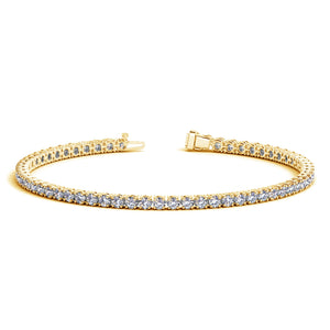 Unique Modern Monaco Style 14K Yellow Gold Round Diamond Tennis Bracelet (4 ct. tw.)