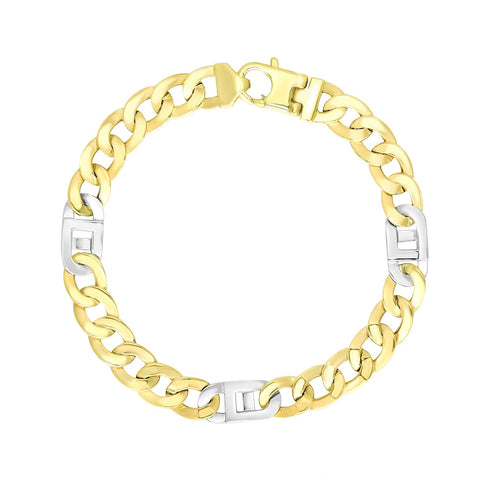 Luxury Italian Style 14K Two-Tone Gold Men's Bracelet with Curb Design Chain