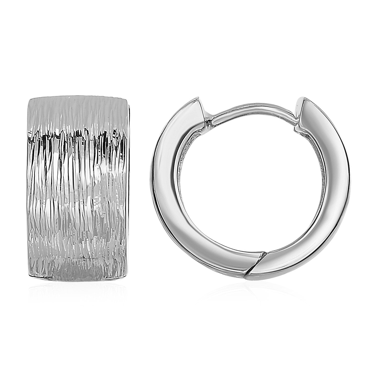 Textured Hoop Earrings with White Finish in Sterling Silver