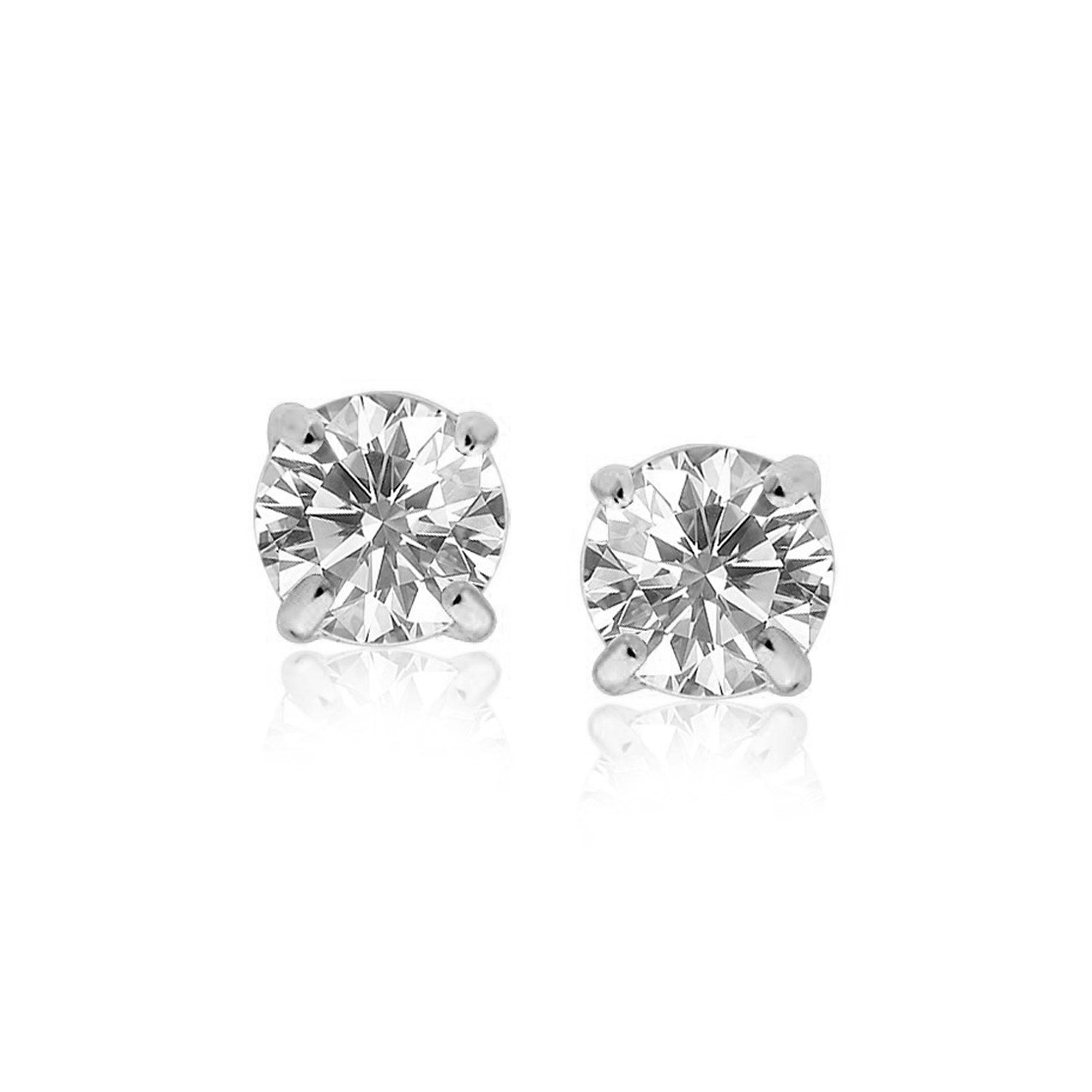 Original New York Style  Sterling Silver 8.0mm Round CZ Stud Earrings