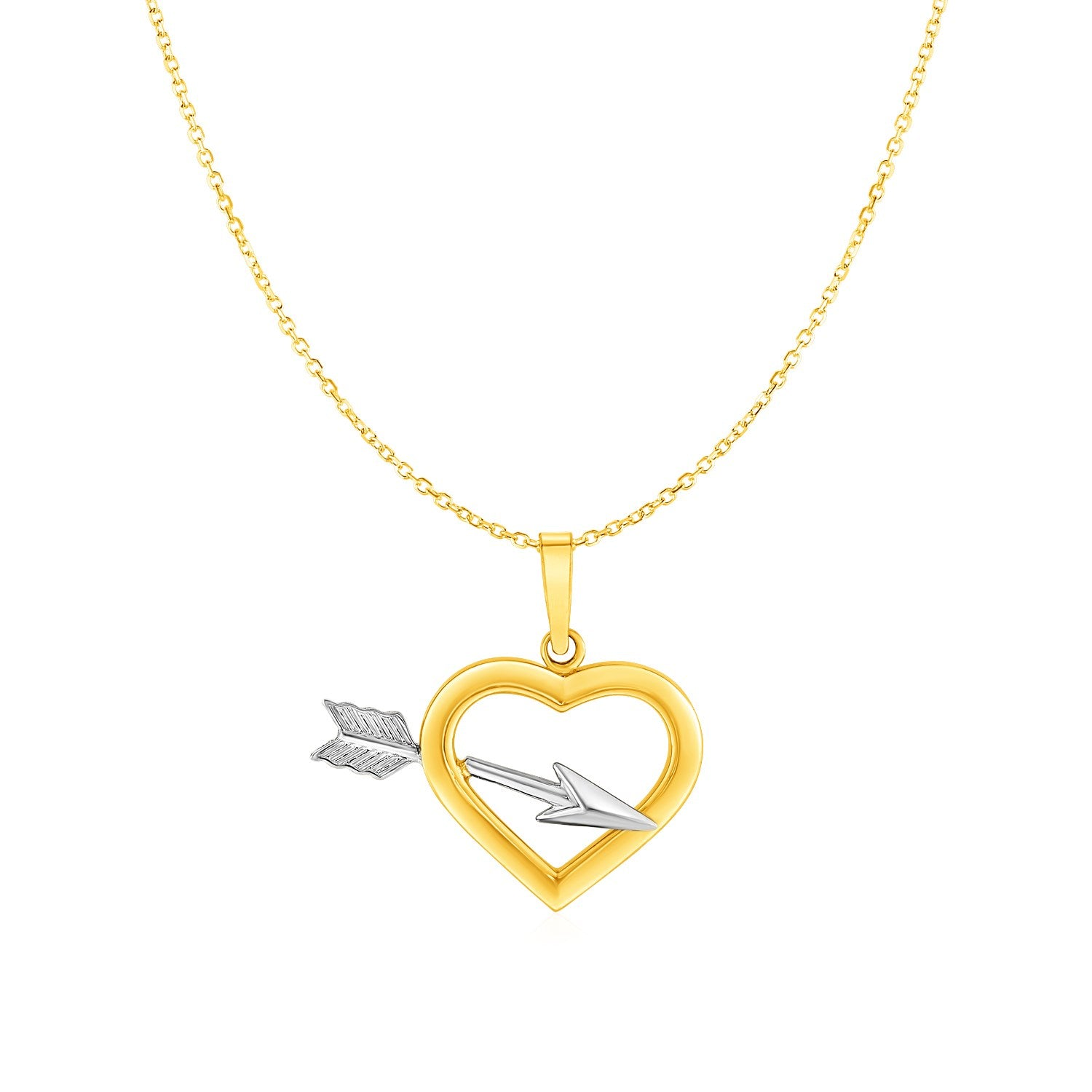 Heart and Arrow Pendant in 10K Two tone Gold