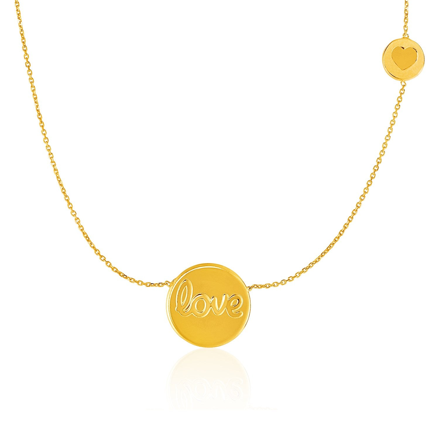 14K Yellow Gold Necklace with Round ''Love'' and Heart Elements