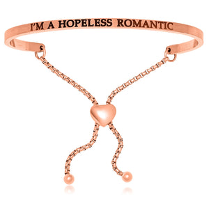 Pink Stainless Steel I'm A Hopeless Romantic Adjustable Bracelet
