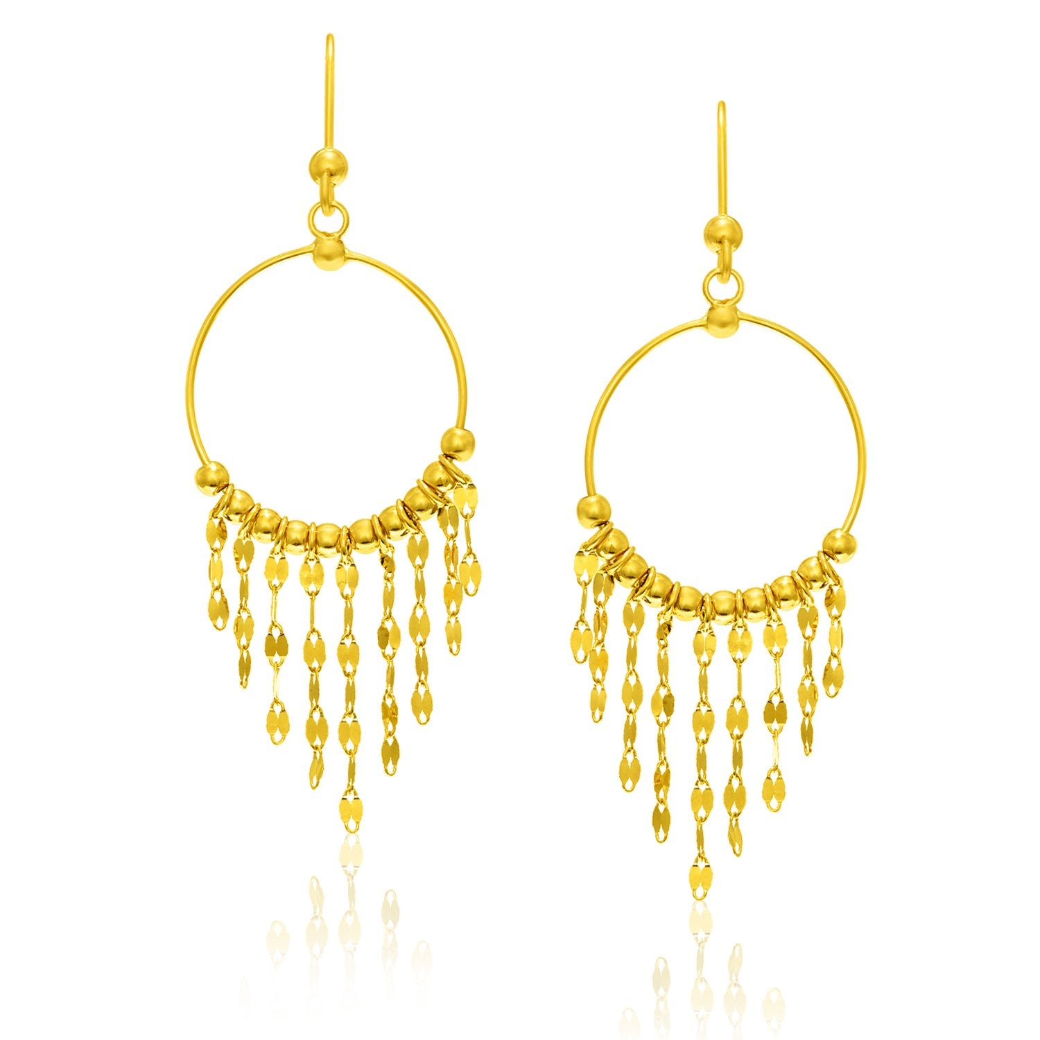 14K Yellow Gold Circle Dangling Earrings with Sequin Fringe