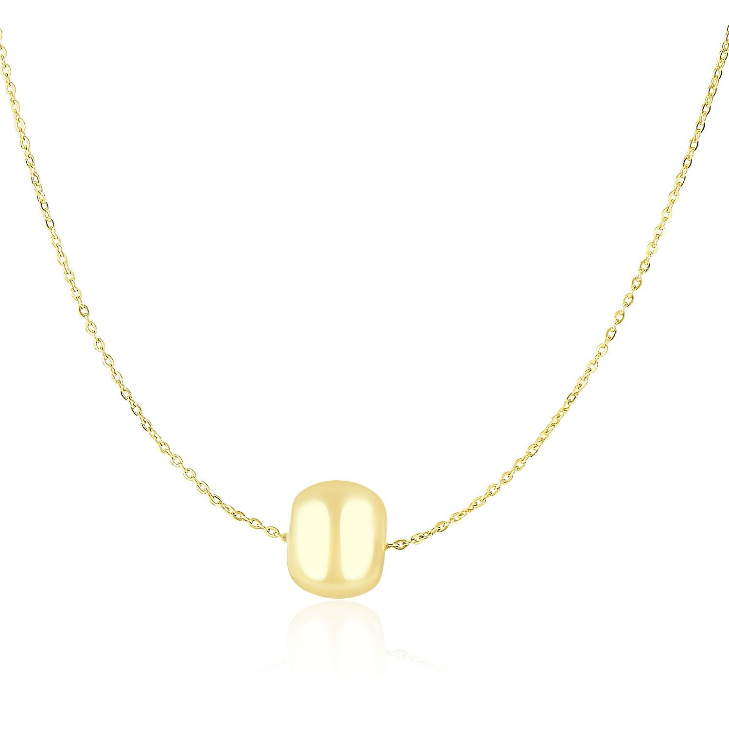 14K Yellow Gold Necklace with Shiny Barrel Bead Charm