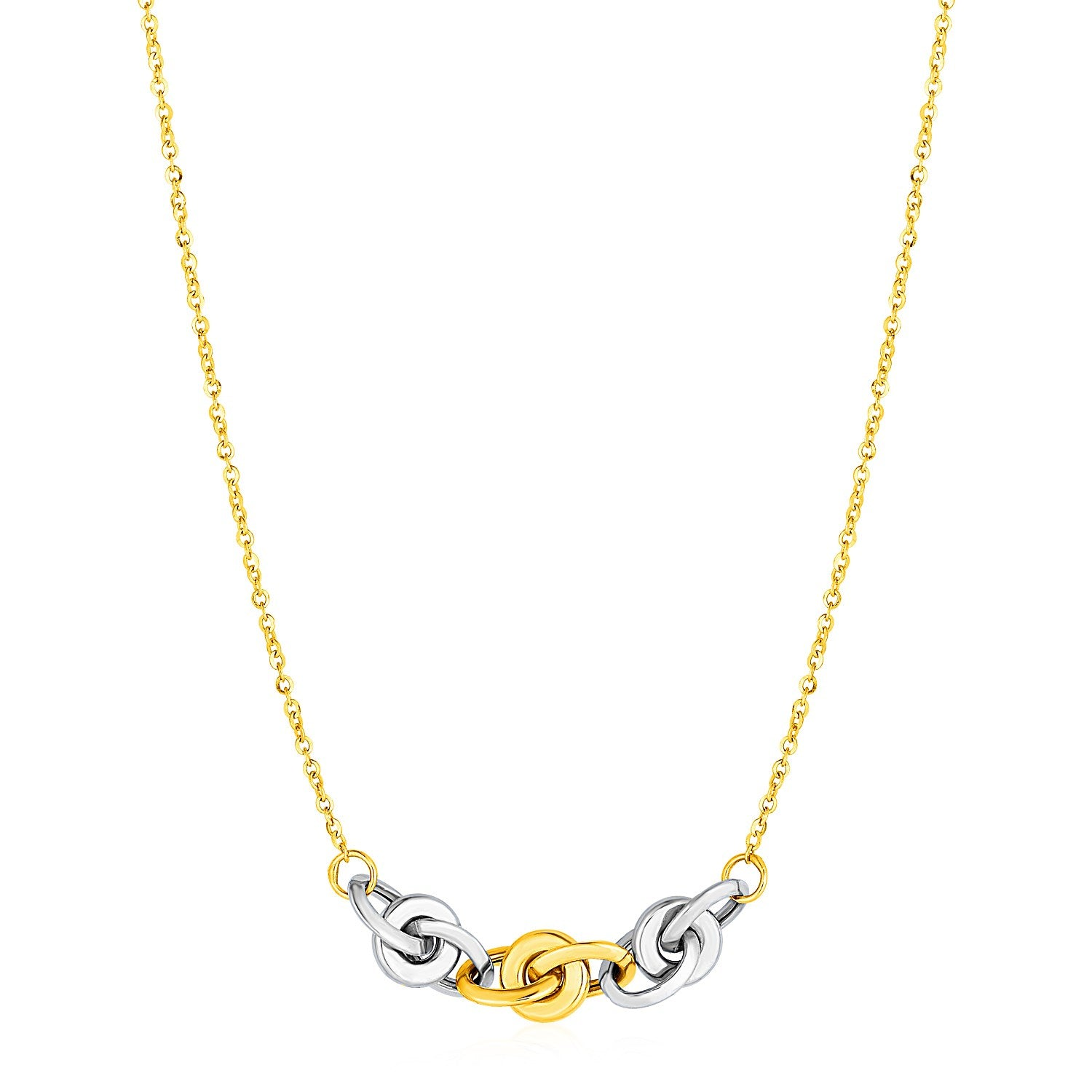 Necklace with Interlocking Link Detail in 14K Two Tone Gold