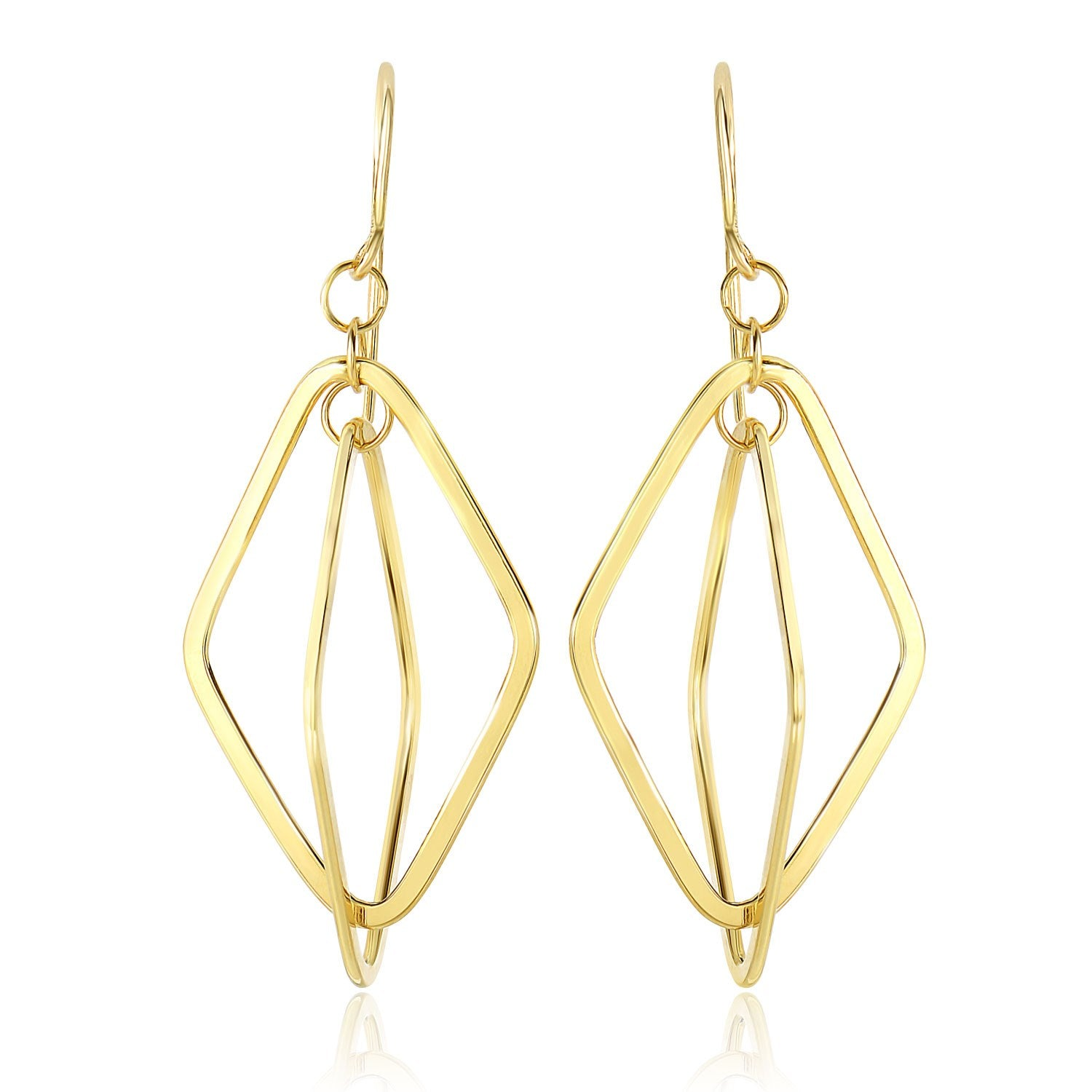 Original New York Style  14K Yellow Gold Flat Open Diamond Interlaced Style Drop Earrings