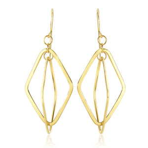 14K Yellow Gold Flat Open Diamond Interlaced Style Drop Earrings