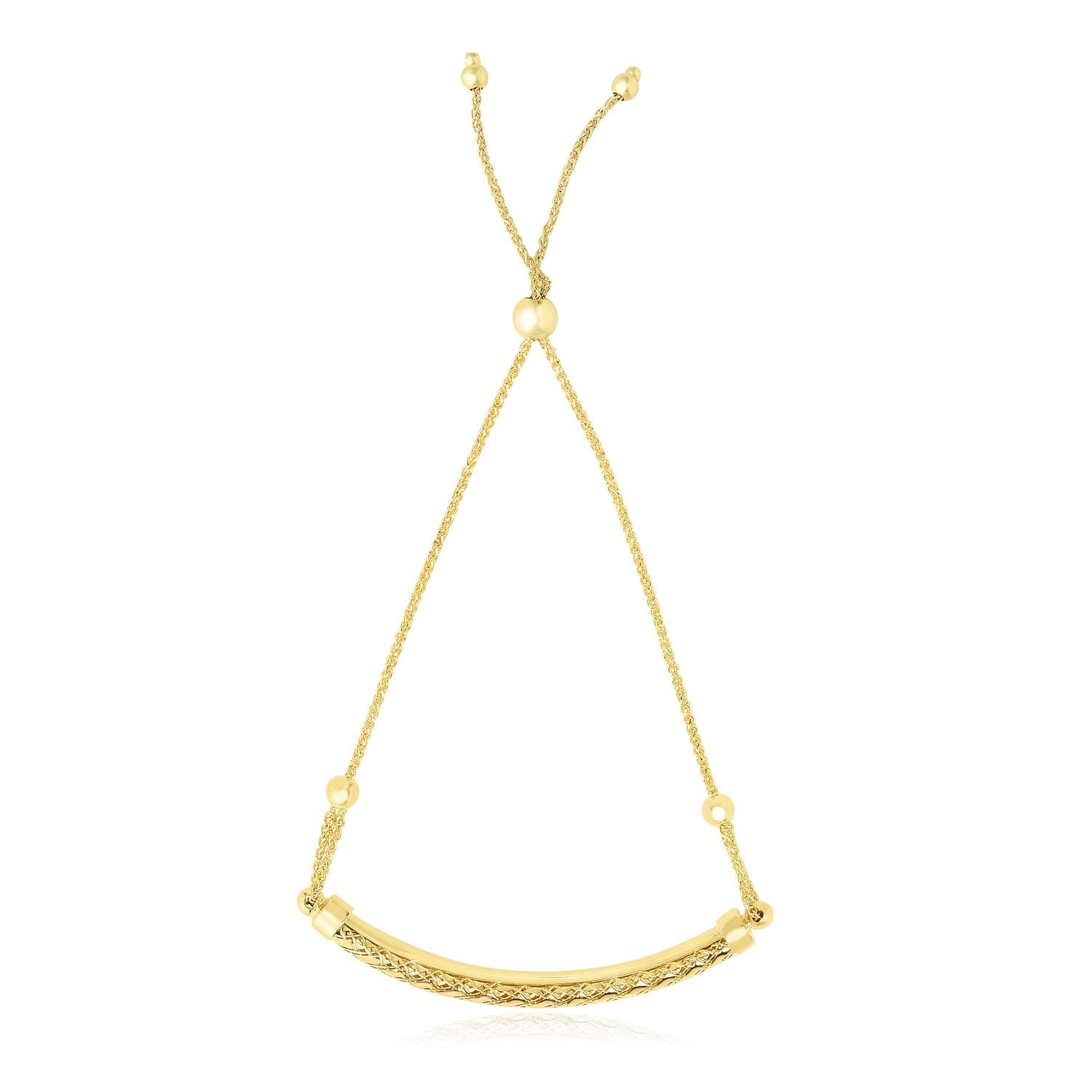 14K Yellow Gold Curved Textured Bar Adjustable Lariat Bracelet