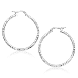 14K White Gold Tube Textured Round Hoop Earrings