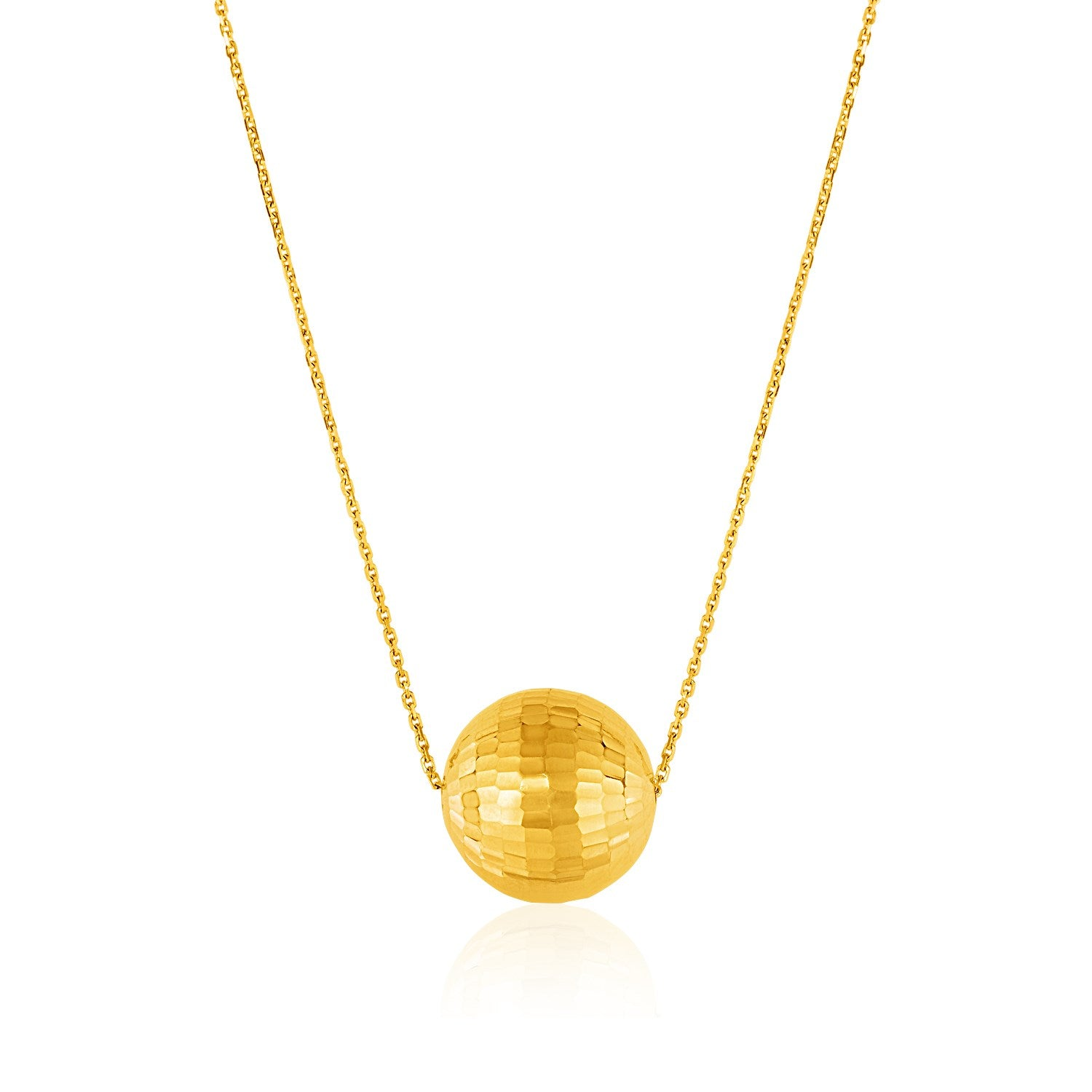 Unique Hollywood Style 14K Yellow Gold Necklace with Faceted Ball Pendant
