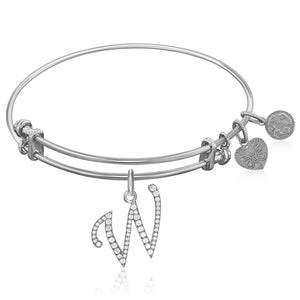 Expandable White Tone Brass Bangle with W Symbol with Cubic Zirconia