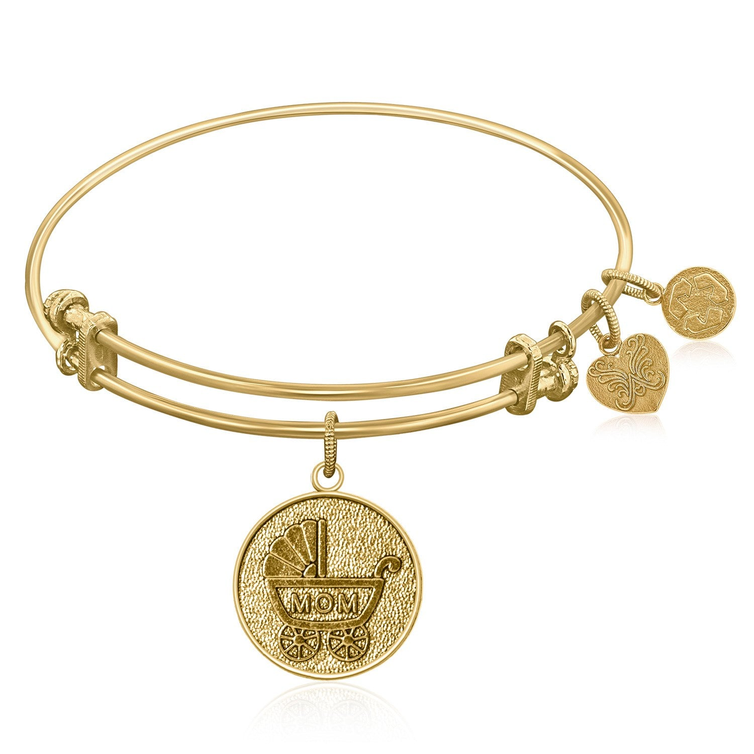 Expandable Bangle in Yellow Tone Brass with New Mom Symbol