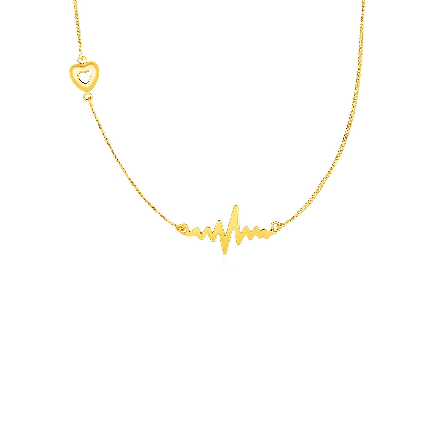 Necklace with Heart and Wave in 14K Yellow Gold