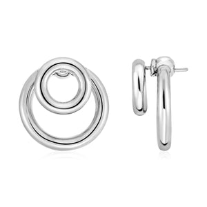 Post Earrings with Double Polished Rings in Sterling Silver