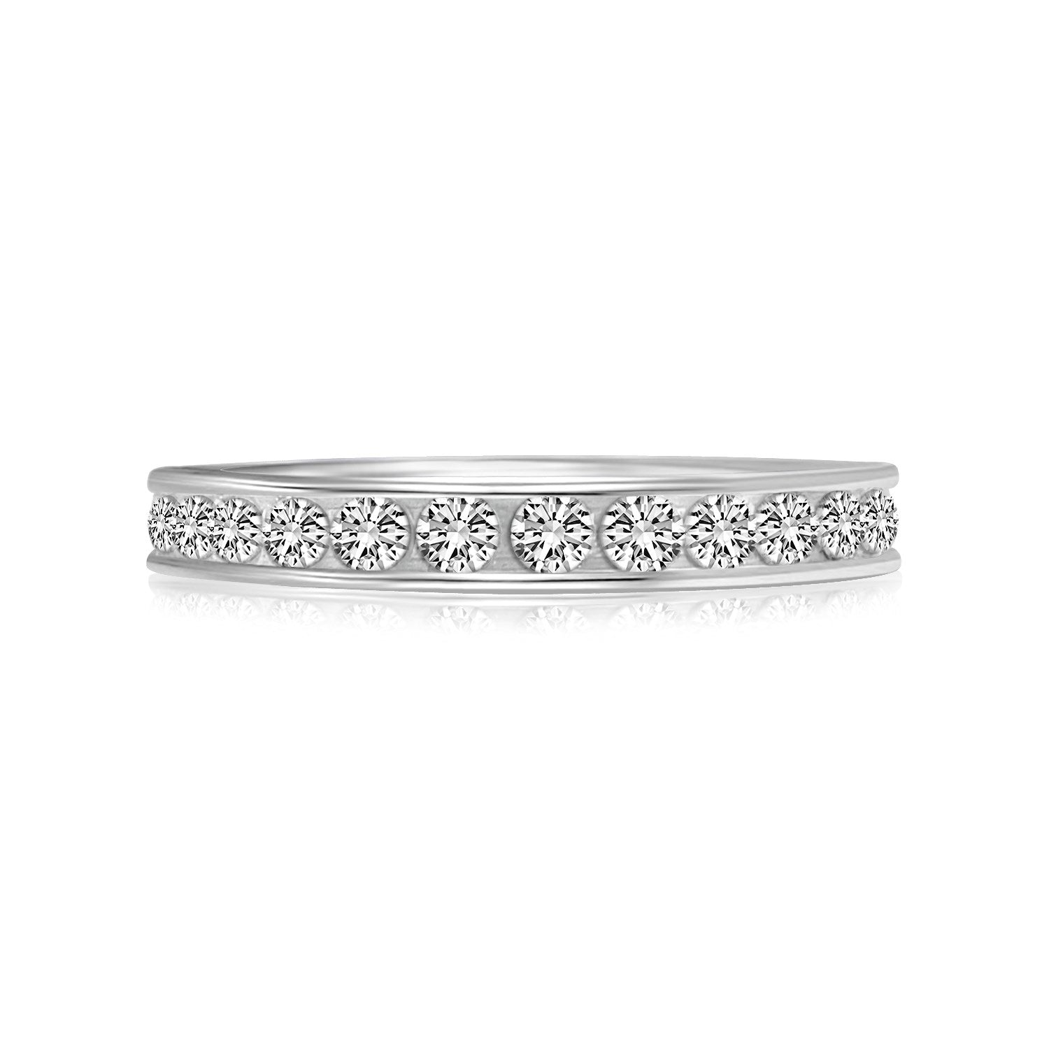 Sterling Silver Rhodium Plated Toe Ring with White Cubic Zirconia Embellishments - Uniquepedia.com