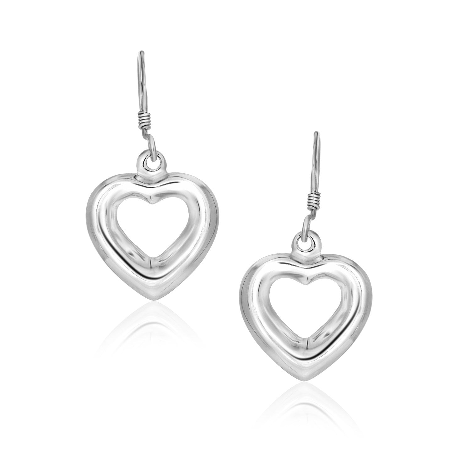 Unique Modern Paris Style Sterling Silver Drop Earrings with a Puffed Open Heart Design