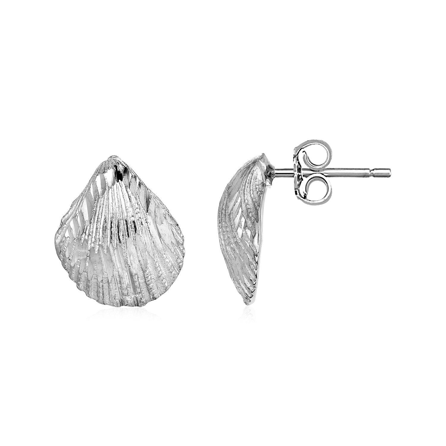Textured Seashell Earrings in Sterling Silver