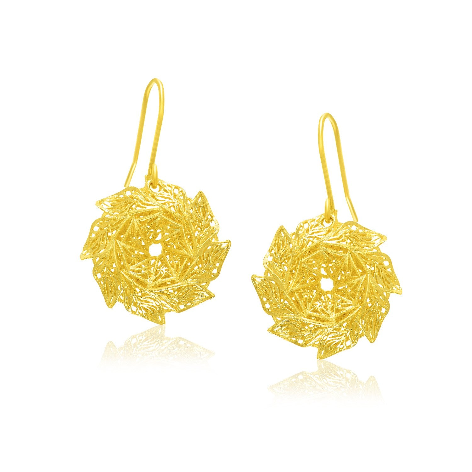 14K Yellow Gold Lacy Spin Wheel Earrings