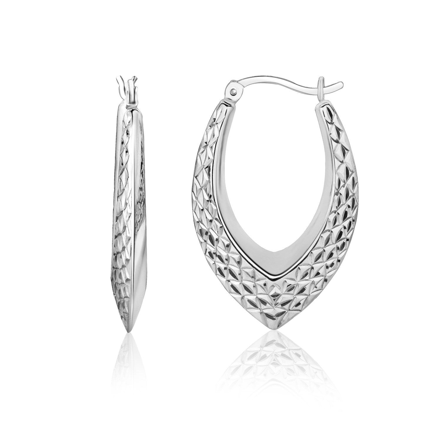 Sterling Silver Fancy Weave Style Texture Hoop Earrings
