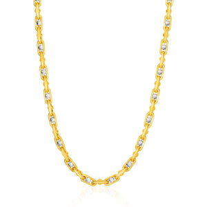 14K Two-Toned Yellow and White Gold Link Men's Necklace with Beads
