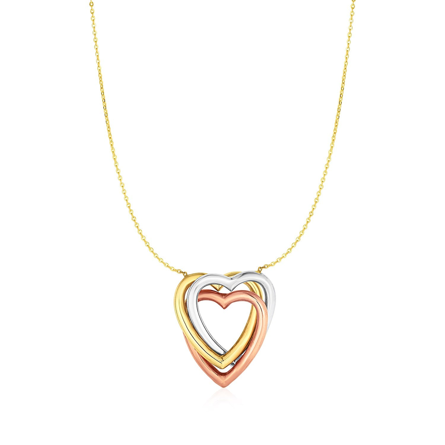 Unique Hollywood Style Necklace with Heart Pendant in 10K Tri Color Gold