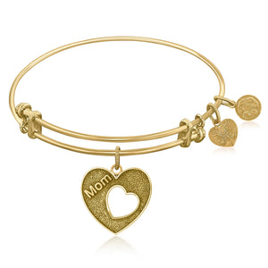 Expandable Bangle in Yellow Tone Brass with Mother's Special Love Symbol