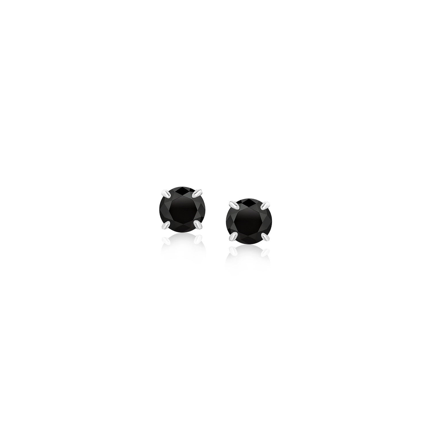Unique Modern Paris Style Sterling Silver Stud Earrings with Black 4mm Cubic Zirconia