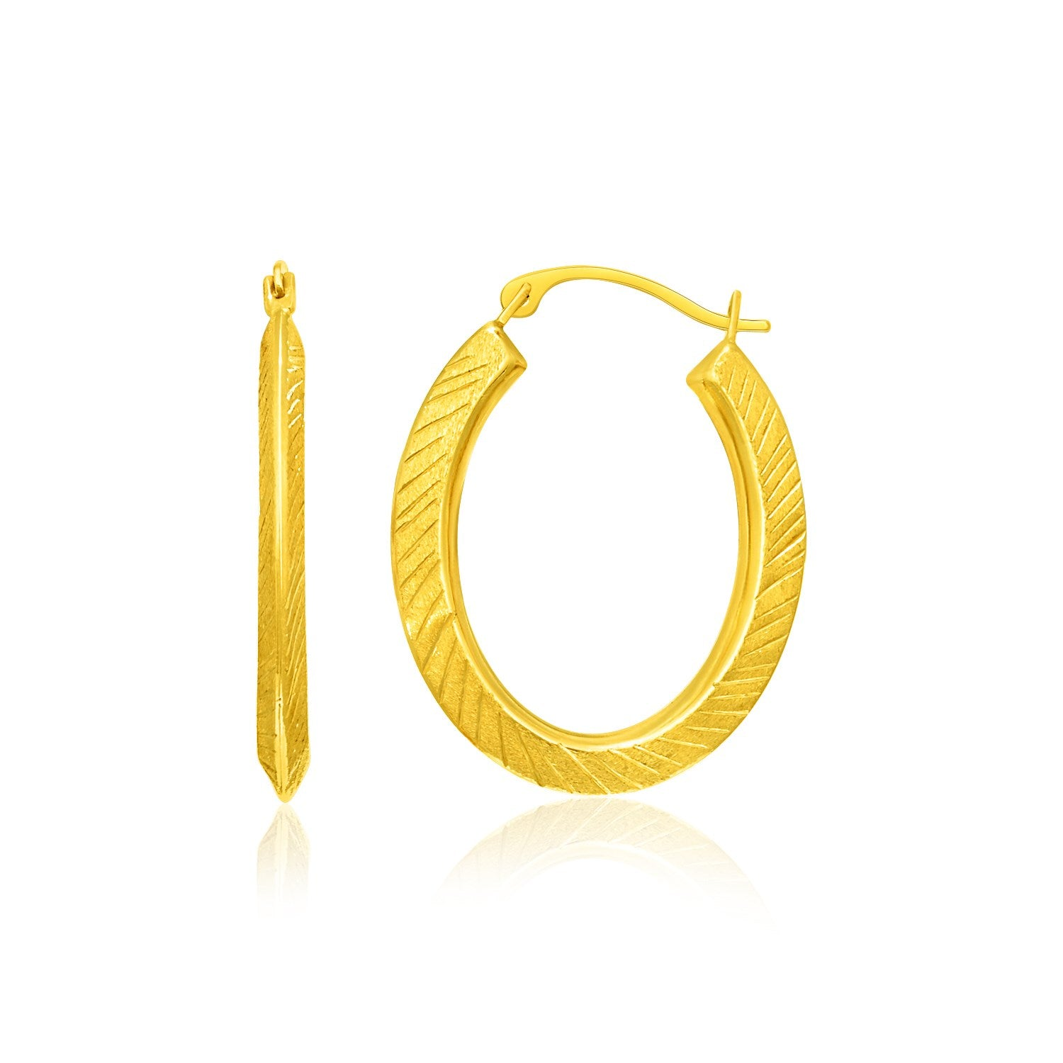 14K Yellow Gold Oval Line Texture Hoop Earrings