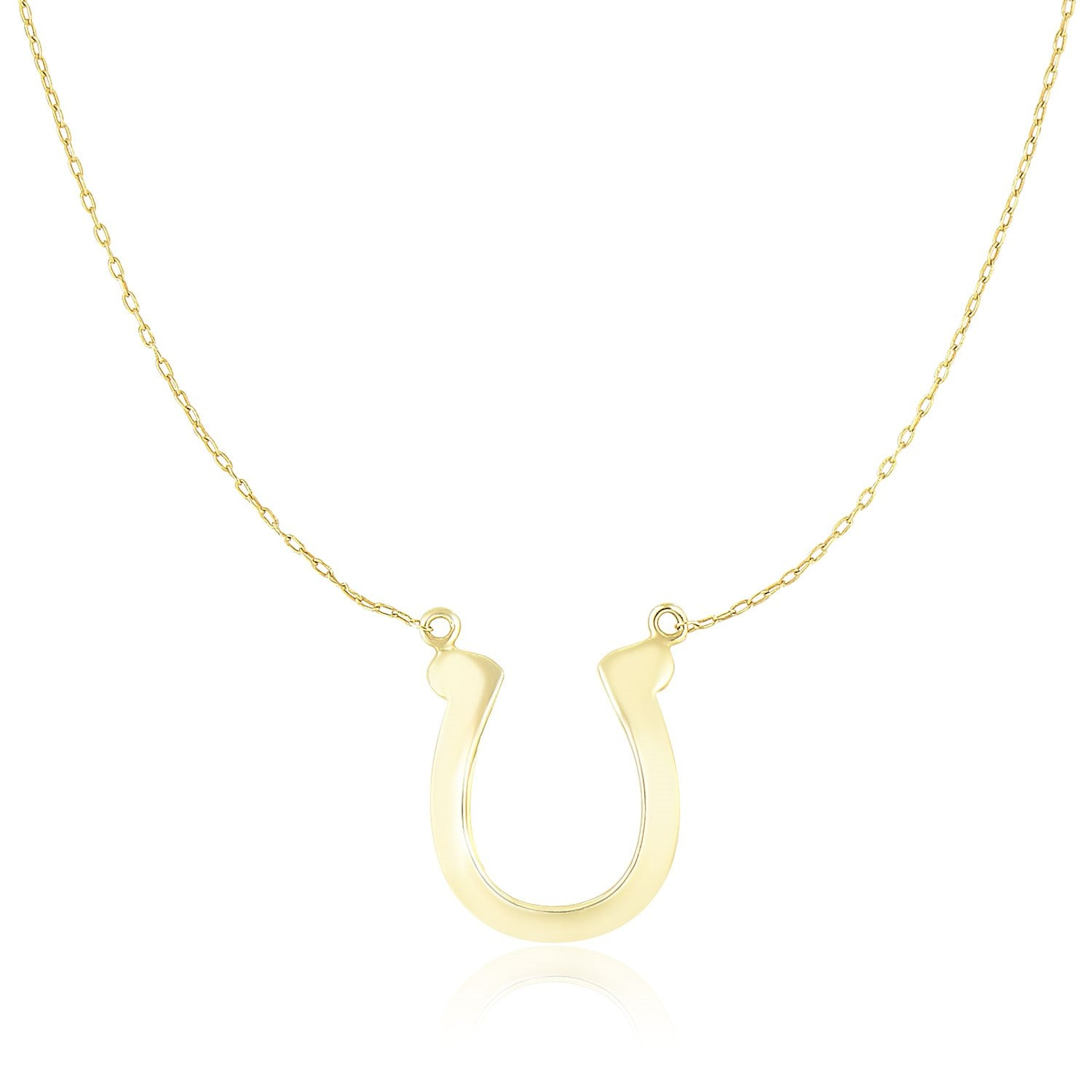 14K Yellow Gold Chain Necklace with Polished Horseshoe Charm