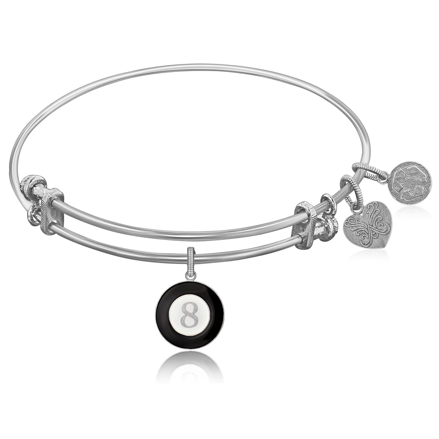 Expandable White Tone Brass Bangle with Black & White Enamel 8 Ball Symbol