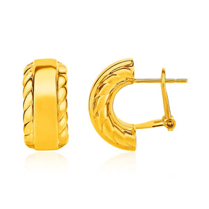 Uniquely Designer Monaco Style 14K Yellow Gold Textured Half Moon Post Earrings