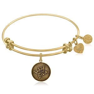 Modern New York Style Unique Expandable Yellow Tone Brass Bangle with Diva Symbol
