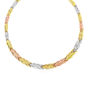 Graduated Leaf Link Necklace in 14K Tri Color Gold