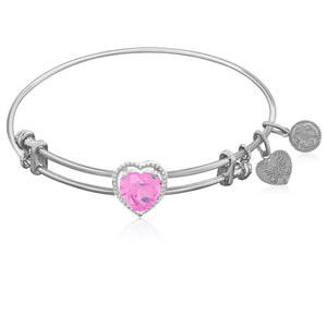 Expandable White Tone Brass Bangle with Pink CZ Heart Symbol