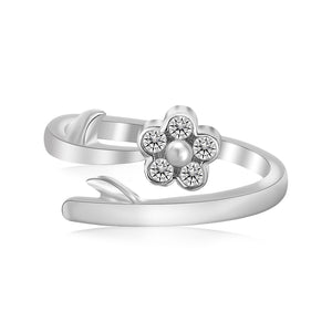 Sterling Silver Rhodium Plated Floral White Cubic Zirconia Accented Toe Ring - Uniquepedia.com
