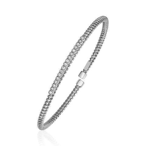 Unique Luxury French Style  14K White Gold and Diamond 3mm Flexible Bangle Bracelet