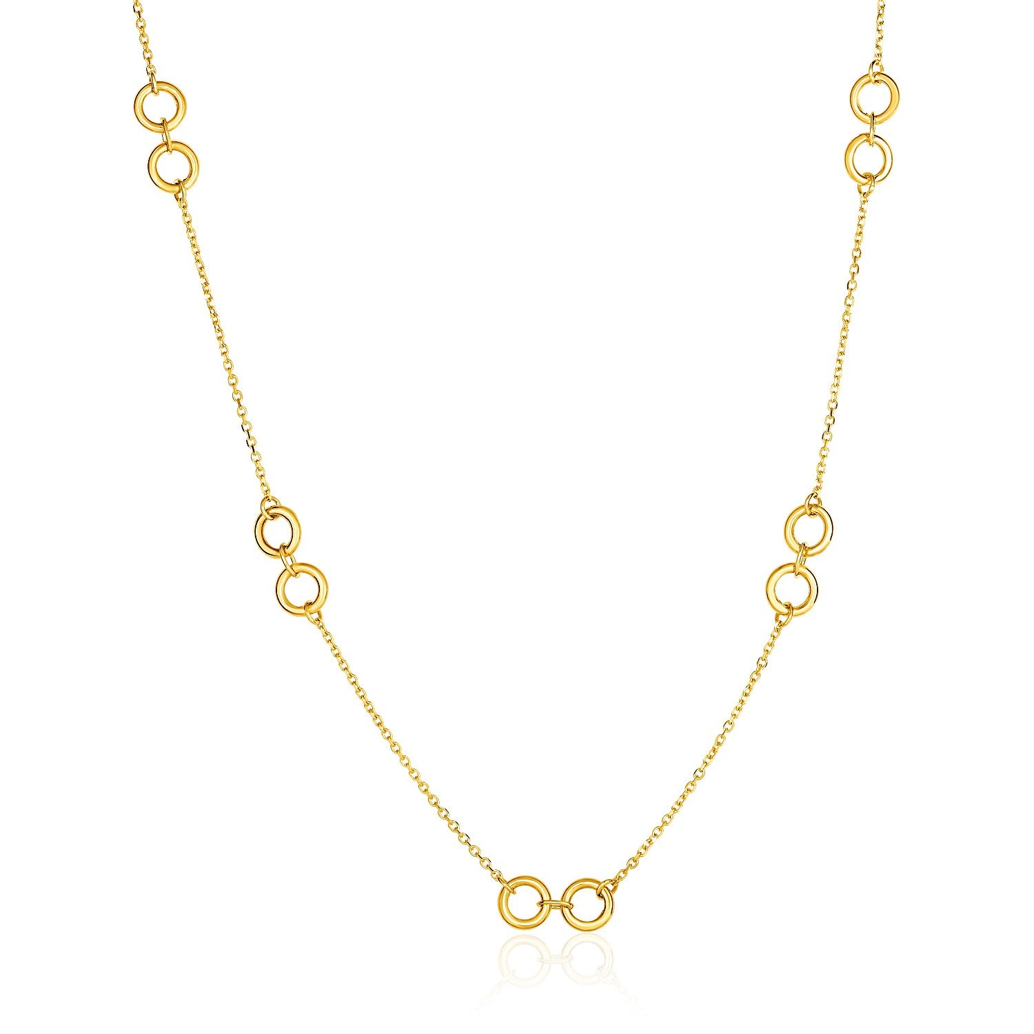 Unique Hollywood Style 14K Yellow Gold Double Ring and Cable Chain Necklace