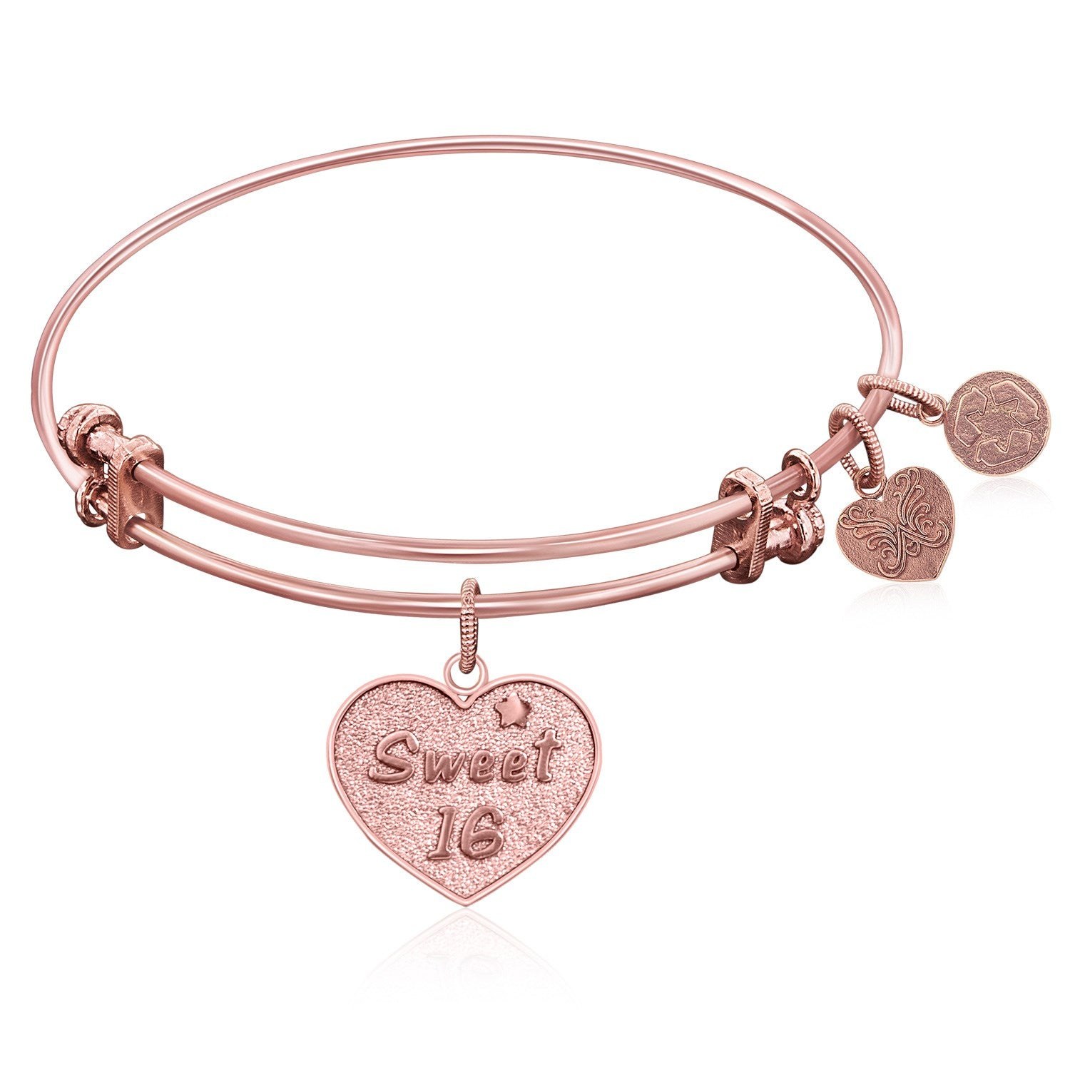 Expandable Bangle in Pink Tone Brass with Sweet 16 Symbol