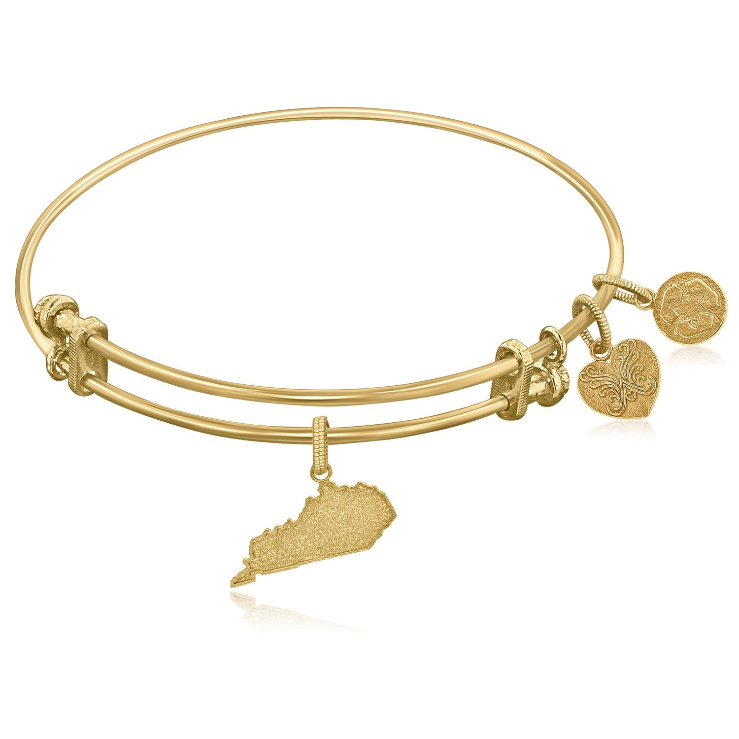Expandable Yellow Tone Brass Bangle with Kentucky Symbol