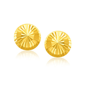 14K Yellow Gold Diamond Cut Flat Design Stud Earrings