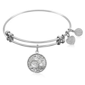 Expandable Bangle in White Tone Brass with The Sea Symbol