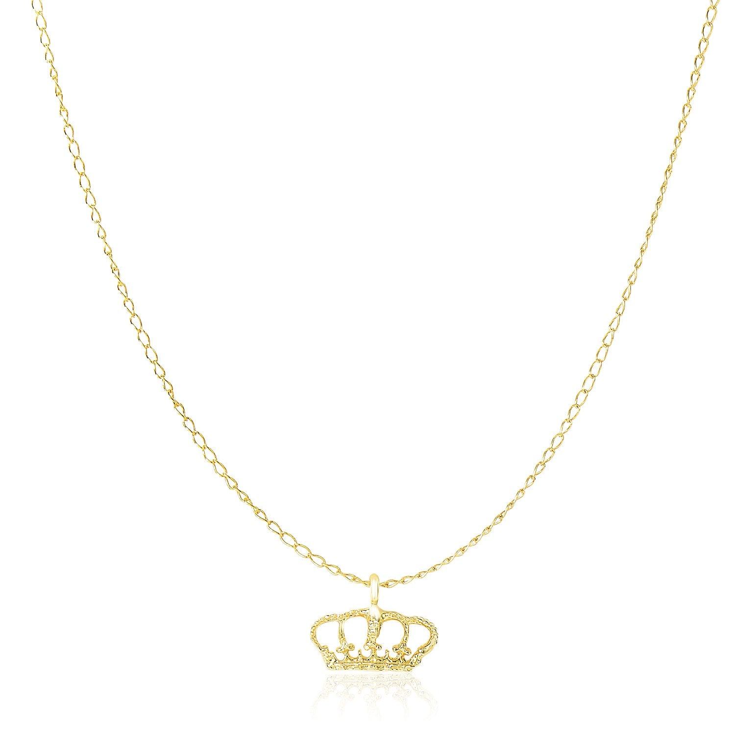 14K Yellow Gold Textured Crown Design Pendant