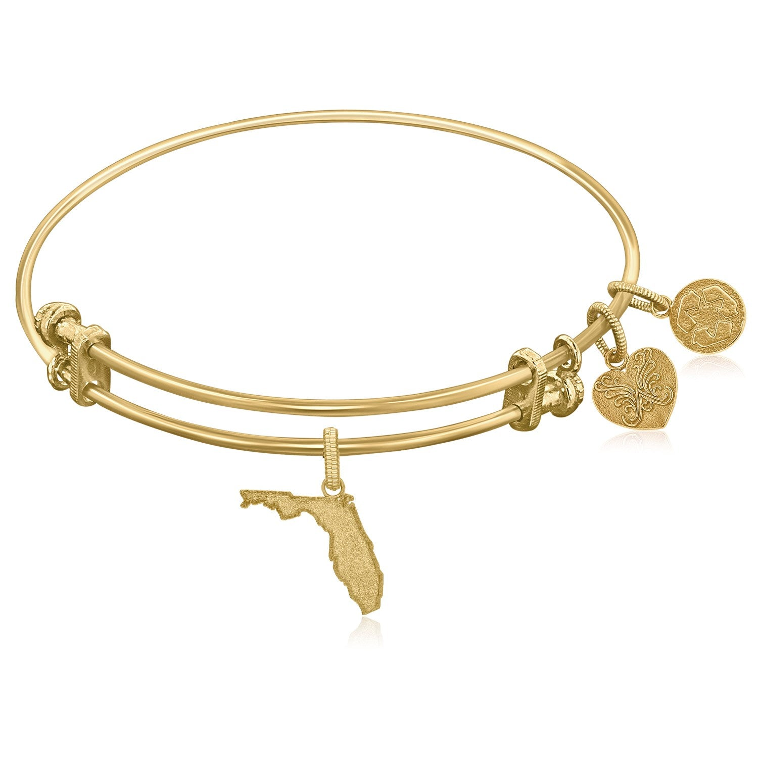 Expandable Yellow Tone Brass Bangle with Florida Symbol